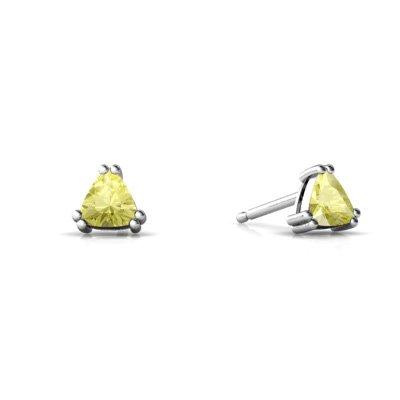 Jewels For Me 14K White Gold Trillion Genuine Lemon Quartz Stud Earrings