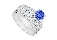 14K White Gold Tanzanite and Diamond Engagement Ring with Wedding Band Set 1.10 CT TGW MADE IN USA