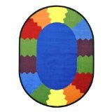 "Joy Carpets Kid Essentials Early Childhood Oval Block Party Rug, Multicolored, 10'9"" x 13'2"""