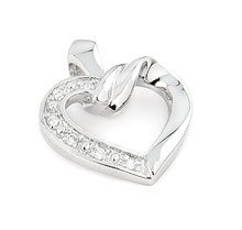 Sterling Silver Cut Out Heart Cubic Zirconia Pendant