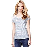 Indigo Collection Pure Cotton Shoulder Lace T-Shirt
