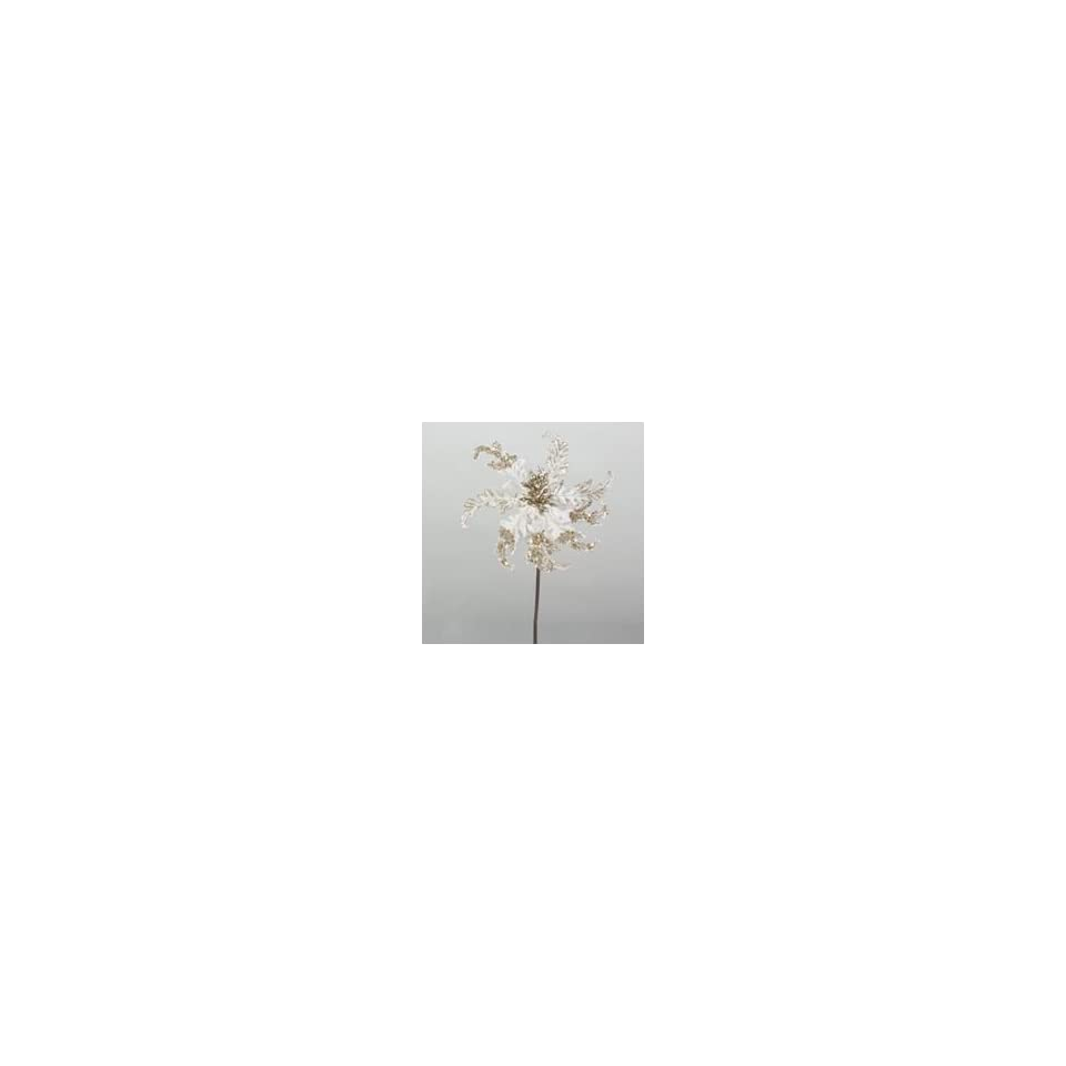 Club Pack of 12 Artificial Ivory Damask Flower Christmas Picks 18