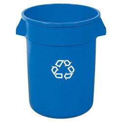Brute® Blue Recycling Container, 32 Gallon (RUB141) Category: Recycling Trash Cans and Containers