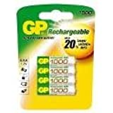 GP 1000mAh AAA NiMH Rechargeable Batteries 4 Pack