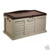 PLASTIC GARDEN STORAGE BOX WITH SIT ON LID CUSHION BOX OUTDOOR STORAGE