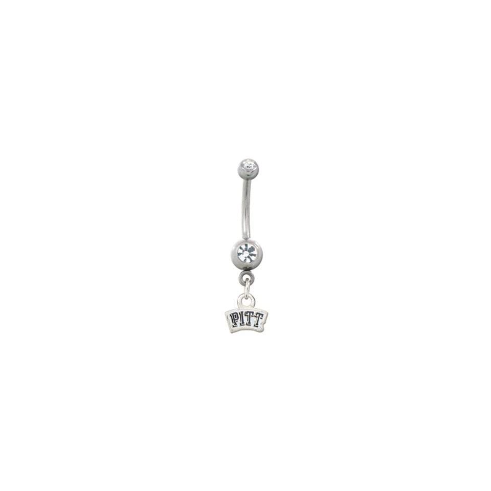 University of Pittsburgh Panthers 316L Stainless Steel Belly Ring with Cubic Zirconia   14G   5/8 Inch Bar Length   Sold Individually