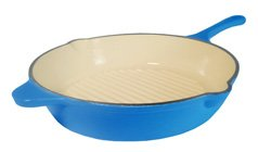 Fancycook France Blue Enamel Cast Iron Deep Grill pan