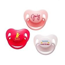 Juicy Couture Baby Girls 3 Pack Pacifier Pink, Hot Pink, White - 1