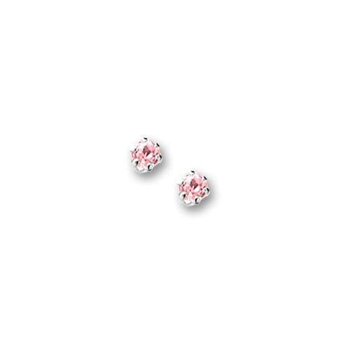 Children's Sterling Silver Pink Cubic Zirconia Stud Earrings