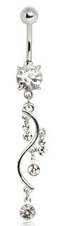 Clear Crystal Four Tier Vine Dangle Belly Bar Navel Ring