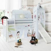 Cabin Bed White Mid Sleeper Bunk with Slide, Tower & Pirate Pete Tent
