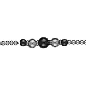 So Chic Schmuck – Damen-Armband Länge Verstellbar: 19 bis 20 cm Kugeln Schwarze Keramik Edelstahl günstig kaufen