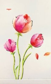 PeelCo Huge Pink Red Tulip Flower Abstract Wall Decal Wall Art - 1