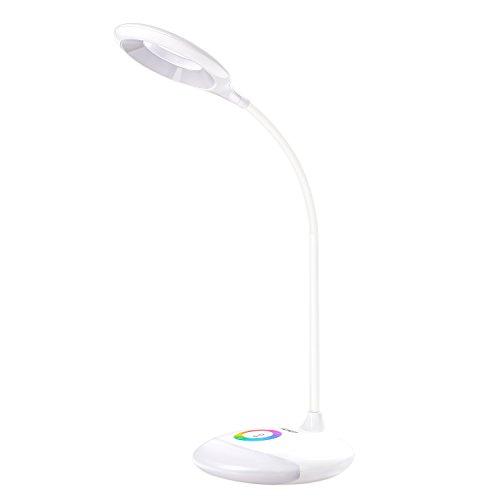 AUKEY 4W Mini Lampada da Tavolo Portatile, Luminosità Regolabile, Luce Notturna RGB, Luce Ambientale, Controllo Tattile, 18 LED, Batteria Incassate, Porta USB (LT-ST3, Bianco)