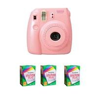 FujiFilm Instax Mini 8 Camera, 62x46mm Picture Size, Pink - Bundle - with Three TwinPacks of Fujifilm Instax Mini Instant Daylight Film, 20 Exposures (Total 60 Sheets) from FujiFilm