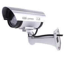 Outdoor Fake , Dummy Security Camera with Blinking Light (Silver) image