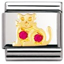 Composable Classic EARTH ANIMALS in stainless steel , 18k gold and Cubic zirconia (RED cat)