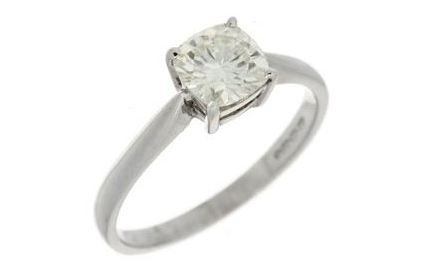 Moissanite 18ct White Gold 1.10 Carat Cushion Cut Ring - Zoe Kay Jewellery