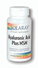 Hyaluronic Acid Plus Msm Solaray 30 Vcaps
