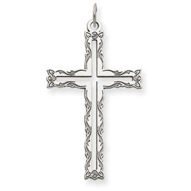 14k White Gold Laser Designed Cross Pendant