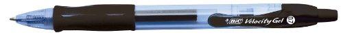 BIC Velocity Gel - Bolígrafo de tinta gel con botón (trazo de 0,4 mm, 12 unidades), color negro