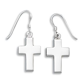 Small Polished Cross Earrings