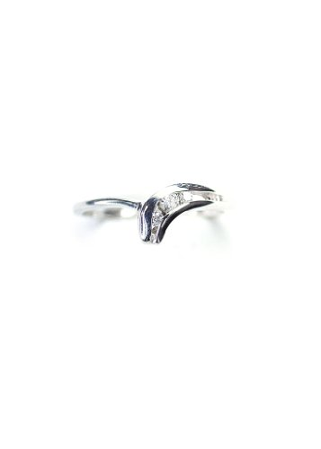 0.07 Carat CTW Three Stone Diamond Wave Promise Ring in Solid 10K White Gold WG