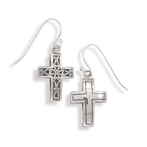 Cross Earrings Reversible Polished and Antique Finish Filigree Heart Design Sterling Silver