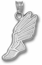 Track Winged Foot Pendant - Sterling Silver Jewelry