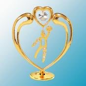 24K Gold Plated Basketball In Heart Free Standing - Clear - Swarovski Crystal