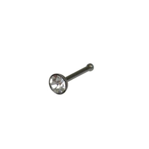 Jewellery of lords Silver Stainless Nose Stud with Clear 3mm Crystal