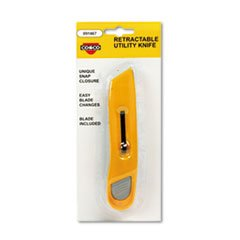 Plastic Utility Knife W/Retractable Blade & Snap Closure, Yellow front-980757