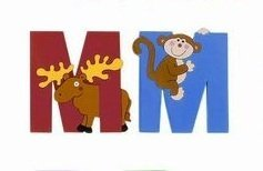 [WOODEN JUNGLE ANIMAL ALPHABET LETTERS PERSONALISED BEDROOM WALL DOOR NAME (M) by Vinsani] (Animals That Start With The Letter M)