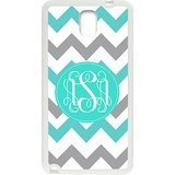 Pink Monogram Personalized Cyan and White Chevron Pattern with Cursive Initials Best Plastic Snap On Cover Case & Dust Plug for Samsung GALAXY S5 Mini (Samsung S5 Mini Initial Covers compare prices)