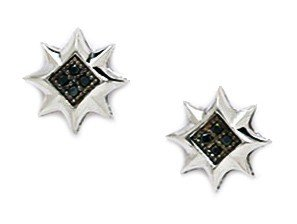 14ct White Gold Black CZ Medium 8 Point Star Micropave Earrings - Measures 10x10mm