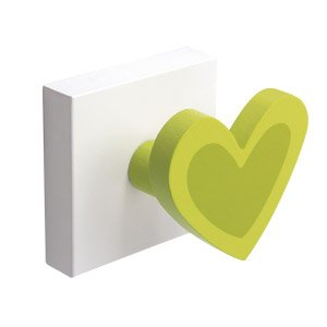 Percha Base Blanca Corazon Verde por NESU