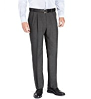 Active Waistband Supercrease® Twin Pleat Trousers with Wool