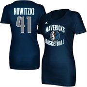 Women'S Dallas Mavericks Dirk Nowitzki Adidas Navy Blue Name And Number T-Shirt