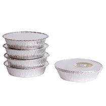 TakeOut To-Go Round Restaurant Disposable Aluminum Foil Pan sets with Flat Board Lids, 25 Count, 7 1/8