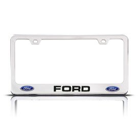 Chrome FORD License Plate Frame with 2 Bolt Screws and 2 Bolt Screw Covers