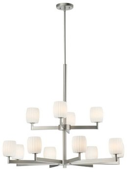 Forecast F1731-36 Allison - Twelve Light Chandelier, Satin Nickel, Etch White Opal