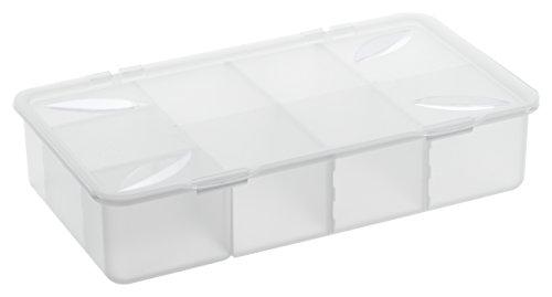 1109900096 Aufbewahrungs-Box mit Einteilungen und Deckel aus Kunststoff (PP), mit Scharnierdeckel, übersichtliche Aufbewahrunng von Kleinteilen leichtgemacht, ca. 33.9 x 19.6 x 7.6 cm (LxBxH), transparent