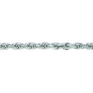 14K Solid White Gold Diamond Cut Rope Chain Necklace 3mm thick 24 Inches