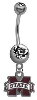 Mississippi State Bulldogs NCAA Belly Button Navel Ring (Logo Belly Button Rings compare prices)