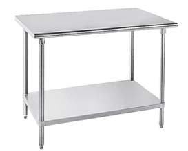 Advance Tabco 16-Gauge Stainless Steel Top - Flat Top w/ Undershelf - Model MS-363