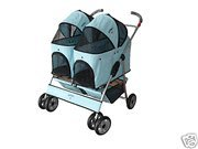 Blue Heavy Duty Twin Double Pet Stroller