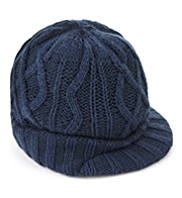 Peak Front Cable Knit Beanie Hat