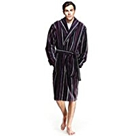 Luxury Cotton Rich Multi-Striped Velour Dressing Gown