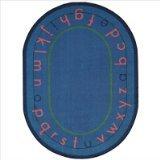 "Joy Carpets Kid Essentials Early Childhood Oval Montessori Alphabet Rug, Multicolored, 5'4"" x 7'8"""
