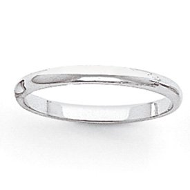 Genuine IceCarats Designer Jewelry Gift 14K White Gold 2Mm Half-Round Band Size 4.00